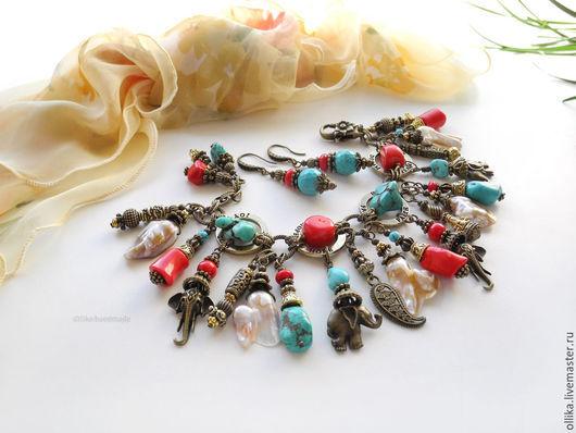 Индийское Лето III Браслет с подвесками Коралл натур,Бирюза-говлит  длинные серьги, браслет со слонами, браслет с кораллом, серьги с кораллом, серьги с бирюзой, браслет со слониками, индийский стиль браслет, крупные серьги сережки, широкий браслет с бирюзой, женский цветной браслет, комплект украшений купить, браслет серьги фото, подарок девушке женщине, яркое модное украшение, летнее украшение, браслет с подвесками, украшения с бирюзой, украшения с кораллом, СЕРЬГИ В ПОДАРОК, ПОДАРОК ПРИ ПОКУПКЕ, ollika Ольга Дмитриева, Ярмарка Мастеров, Авторская бижутерия