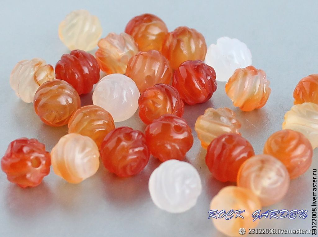 135-the CARNELIAN Carved bead, 7,5 mm – shop online on Livemaster ...