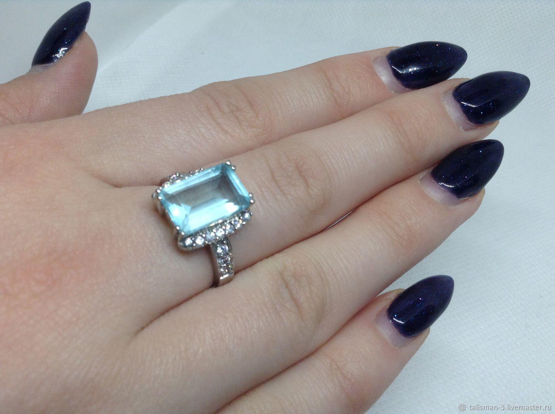Кольцо серебро с голубым фианитом, Кольца, Москва,  Фото №1