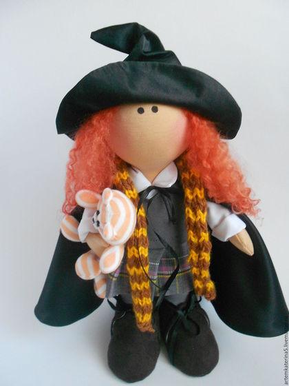 Куклы тыквоголовки ручной работы. Ярмарка Мастеров - ручная работа. Купить Интерьерная кукла. Ведьмочка.. Handmade. Разноцветный, текстильная кукла