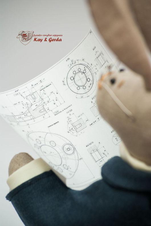 Коллекционные куклы ручной работы. Ярмарка Мастеров - ручная работа. Купить Заяц - Папа (инженер). Handmade. Заяц, мама, хлопок