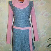 Одежда ручной работы. Ярмарка Мастеров - ручная работа Теплое вязанное платье со съемным воротом. Handmade.