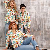 Blouses handmade. Livemaster - original item Shirt for women with a cheerful print in men`s style