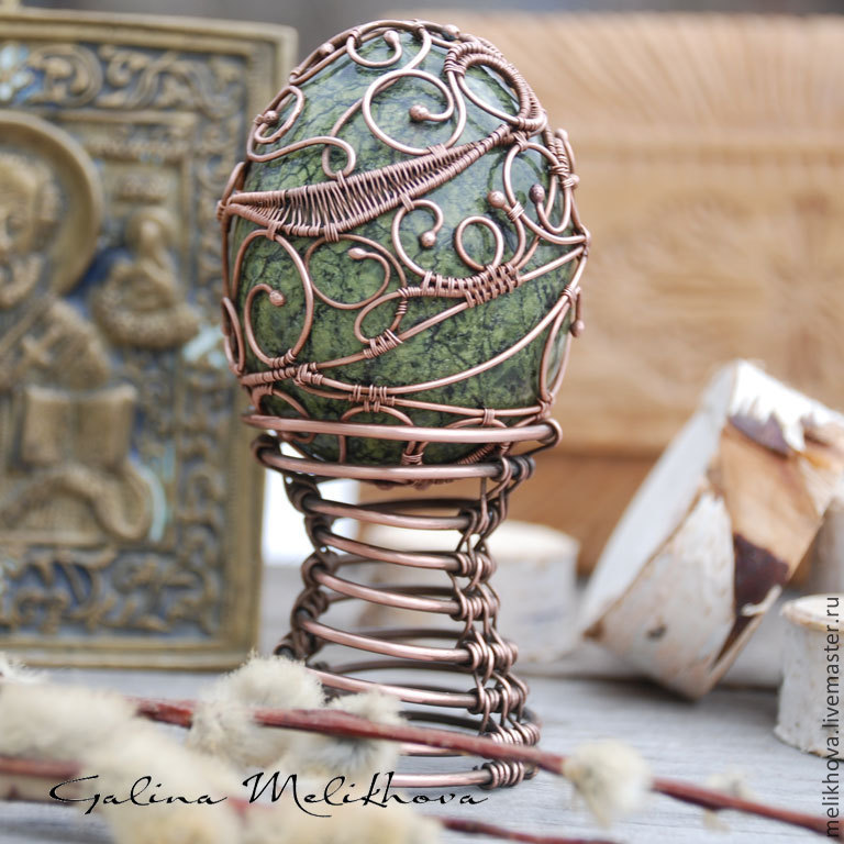 The egg of the coil and the copper wire easter joy shop online easter gifts handmade livemaster handmade buy the egg of the coil and the negle Images
