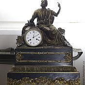 Винтаж ручной работы. Ярмарка Мастеров - ручная работа Часы каминные Платон антиквариат философия бронза мрамор. Handmade.