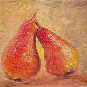 Картины и панно ручной работы. Ярмарка Мастеров - ручная работа Желто-красные груши картина маслом на холсте (стиль фреска)  для кухни. Handmade.