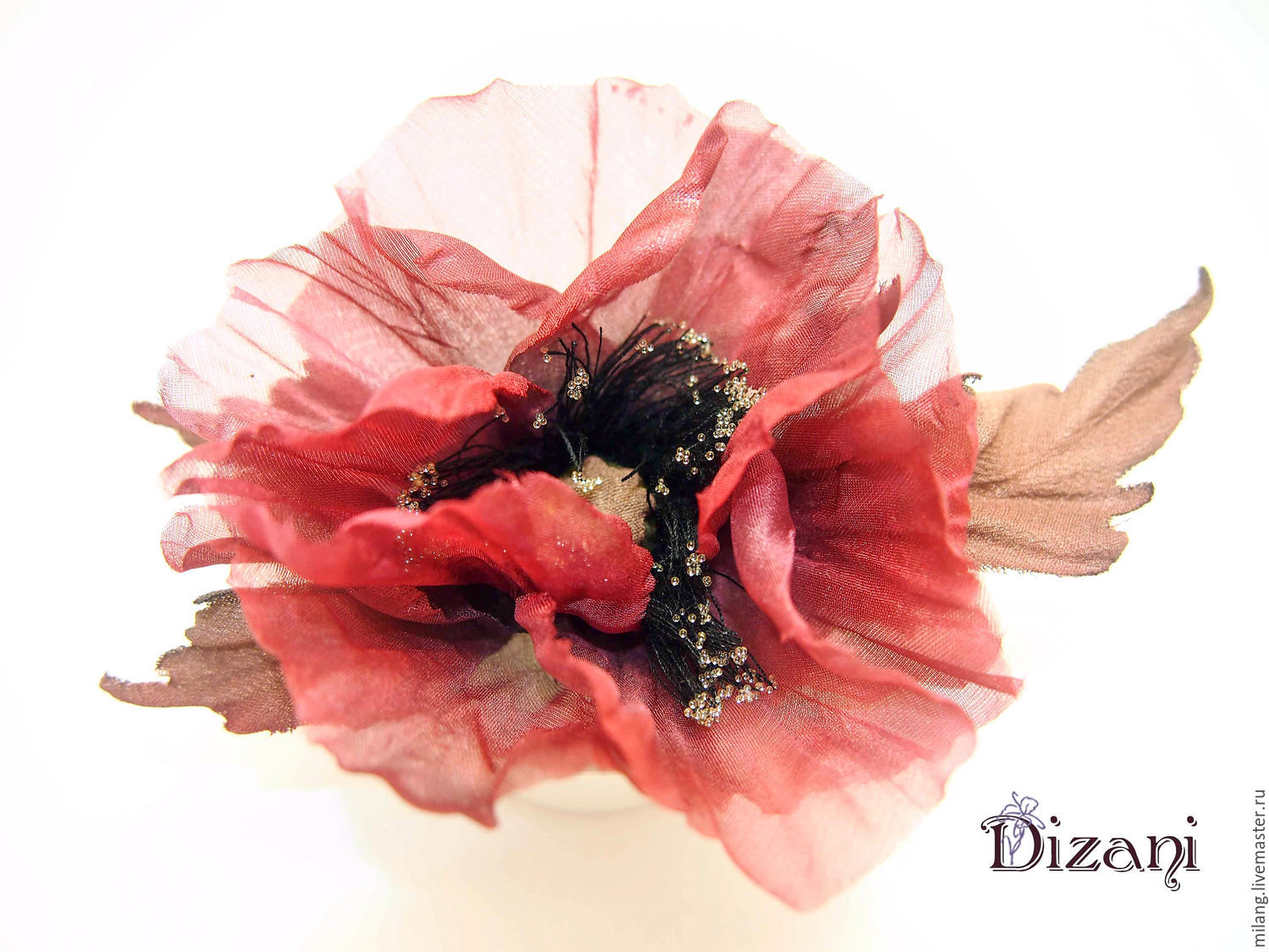 Brooch silk poppy silk flowers fabric flowers shop online on buy brooch silk poppy silk flowers mightylinksfo