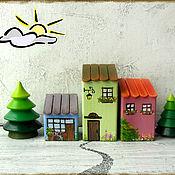 Куклы и игрушки handmade. Livemaster - original item Set of wooden houses. Handmade.