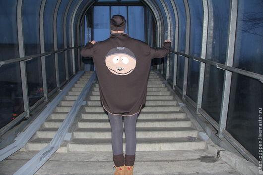 Верхняя одежда ручной работы. Ярмарка Мастеров - ручная работа. Купить Пальто с Эриком Картманом. Handmade. Коричневый, техно-бохо
