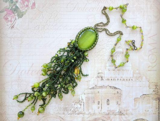"""Колье, бусы ручной работы. Ярмарка Мастеров - ручная работа. Купить Колье """"Лесная нимфа"""". Handmade. Зеленый, ветки, Сказки"""