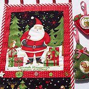 Подарки к праздникам handmade. Livemaster - original item Christmas textile panels with toys Santa Claus with friends. Handmade.