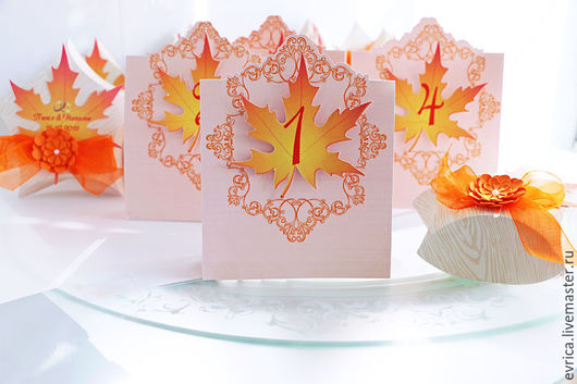 """Свадебные аксессуары ручной работы. Ярмарка Мастеров - ручная работа. Купить """"Золотая осень"""" номер на стол. Handmade. Рыжий"""