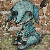 Картины и панно ручной работы. Ярмарка Мастеров - ручная работа Голубой щенок (репродукция). Handmade.
