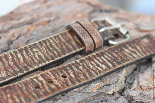 """Пояса, ремни ручной работы. Ярмарка Мастеров - ручная работа. Купить Ремешок на часы """"Кора"""". Handmade. Комбинированный, кожаный браслет"""