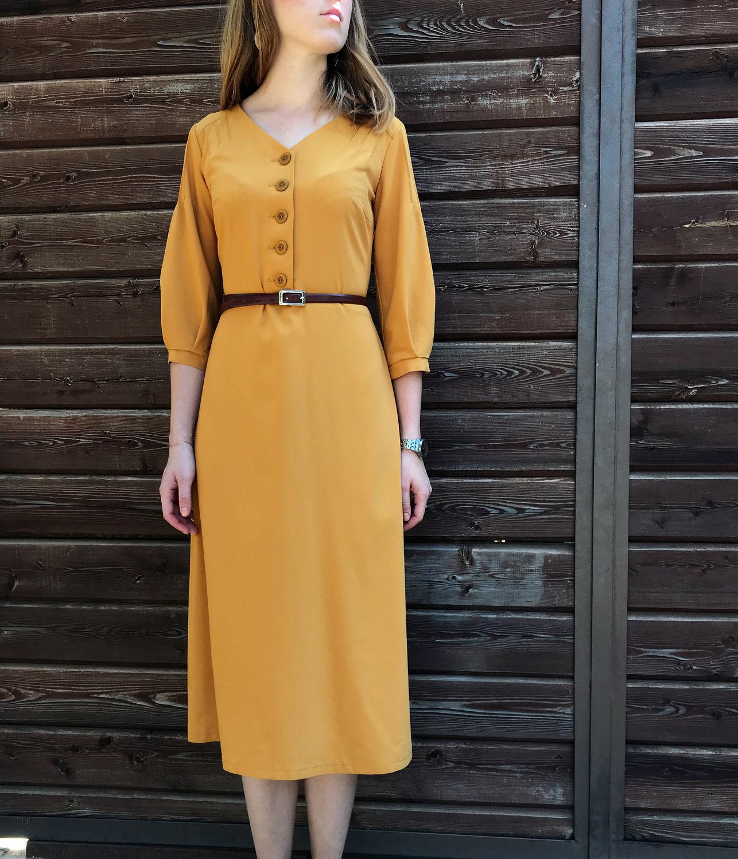 """Платья ручной работы. Ярмарка Мастеров - ручная работа. Купить Платье """"Honey"""". Handmade. Желтый, миди платье"""