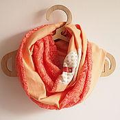 """Аксессуары ручной работы. Ярмарка Мастеров - ручная работа Весенний это шарф """"Оранжевый гипюр"""" бохошик. Handmade."""