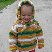 Работы для детей, ручной работы. Ярмарка Мастеров - ручная работа Вязаная кофта с капюшоном. Handmade.