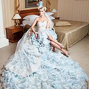 Свадебный салон ручной работы. Ярмарка Мастеров - ручная работа Голубое свадебное платье пачка AVA LUXE с длинным шлейфом. Handmade.