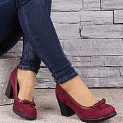 Обувь ручной работы handmade. Livemaster - original item Women`s shoes genuine suede color Burgundy mid heel. Handmade.