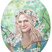 """Картины и панно ручной работы. Ярмарка Мастеров - ручная работа портрет  """"Принцесса Возрождения"""". Handmade."""