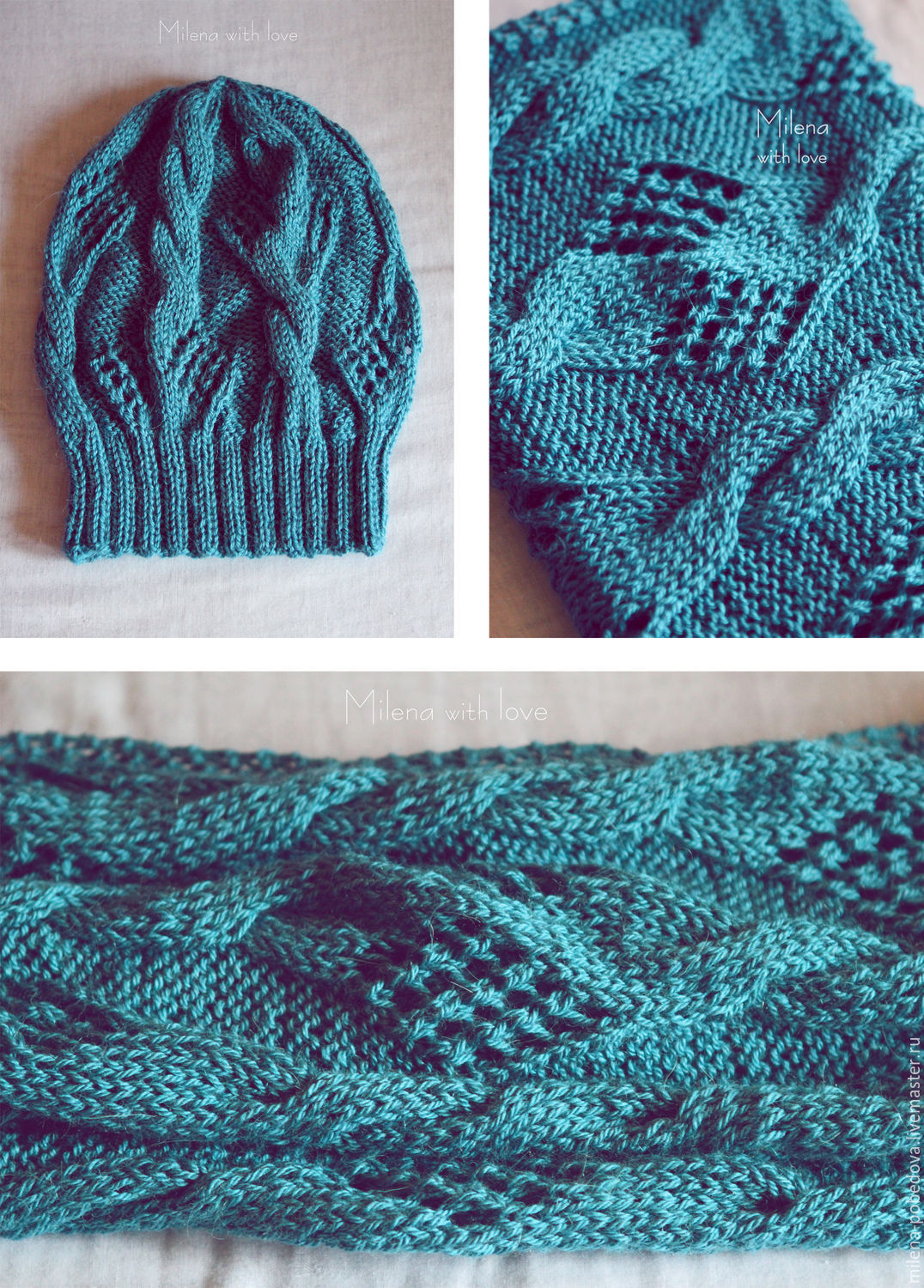 Knitted kit Azure Sea, knitted hat, knitted scarf - snud, , Minsk, Фото №1