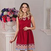 Одежда handmade. Livemaster - original item Dress linen boho Bordeaux. Handmade.