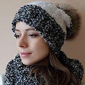 Аксессуары handmade. Livemaster - original item Knit kit: hat with pompom and a scarf-Snood. Handmade.