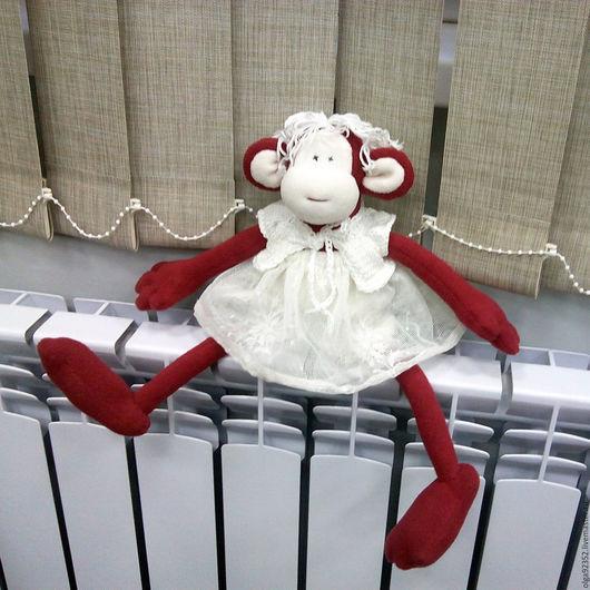 Игрушки животные, ручной работы. Ярмарка Мастеров - ручная работа. Купить обезьянка. Handmade. Бордовый, обезьянка, игрушка ручной работы
