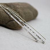 Серьги классические ручной работы. Ярмарка Мастеров - ручная работа Серебряные серьги палочки, длинные серьги. Handmade.