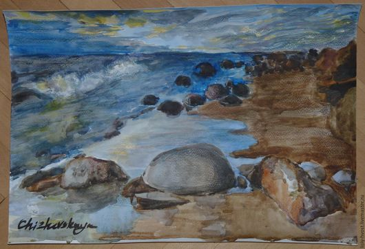 """Пейзаж ручной работы. Ярмарка Мастеров - ручная работа. Купить Пейзаж акварелью """"Финский залив"""". Handmade. Голубой, море, пляж"""