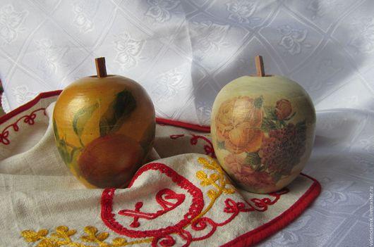 Шкатулки ручной работы. Ярмарка Мастеров - ручная работа. Купить Шкатулка яблочко  декупаж в ассортименте. Handmade. Желтый, шкатулка для хранения