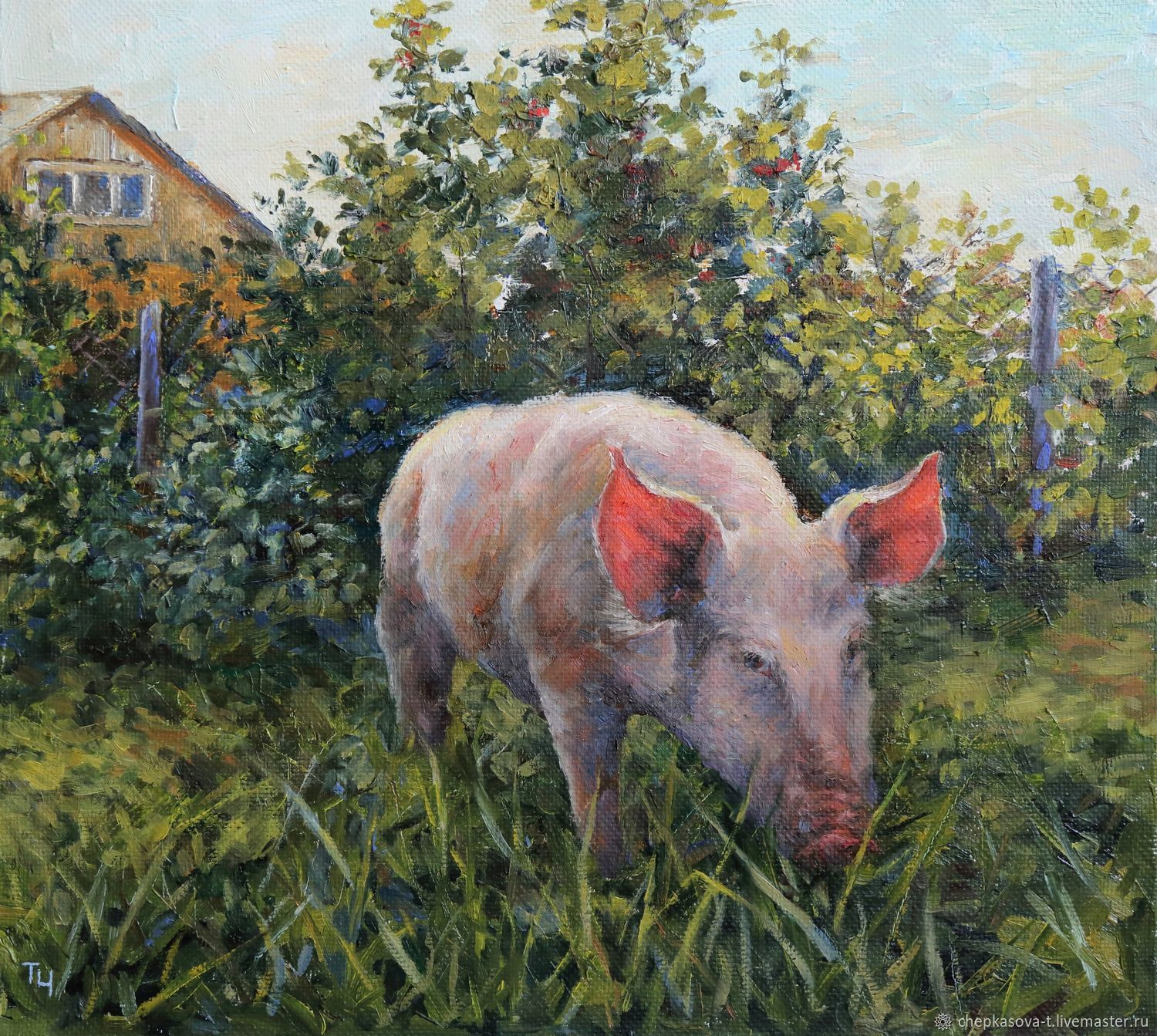 Pig oil painting