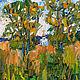 Анна Крюкова impression-живопись Небольшая картина в подарок Луговые травы Картина маслом недорого Яркая квадратная картина
