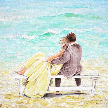 """Картины и панно ручной работы. Ярмарка Мастеров - ручная работа Картина """"Мятное море любви"""". Handmade."""