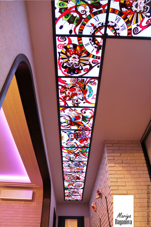 """Элементы интерьера ручной работы. Ярмарка Мастеров - ручная работа. Купить Витражный потолок с подсветкой """"Венецианский карнавал"""". Handmade. Разноцветный"""