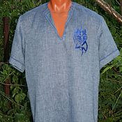 Одежда ручной работы. Ярмарка Мастеров - ручная работа Летняя мужская рубашка Волк. Handmade.