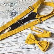 Аксессуары handmade. Livemaster - original item Set bow tie and suspenders yellow polka dot. Handmade.