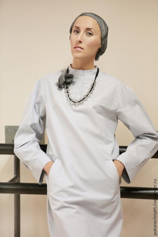 Платья ручной работы. Ярмарка Мастеров - ручная работа. Купить Платье-рубашка из хлопка - АМБУАТЕ. Handmade. Разноцветный, женское платье