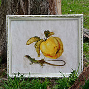 """Картины и панно ручной работы. Ярмарка Мастеров - ручная работа Картина вышивка крестом """"Айва и ящерица"""". Handmade."""