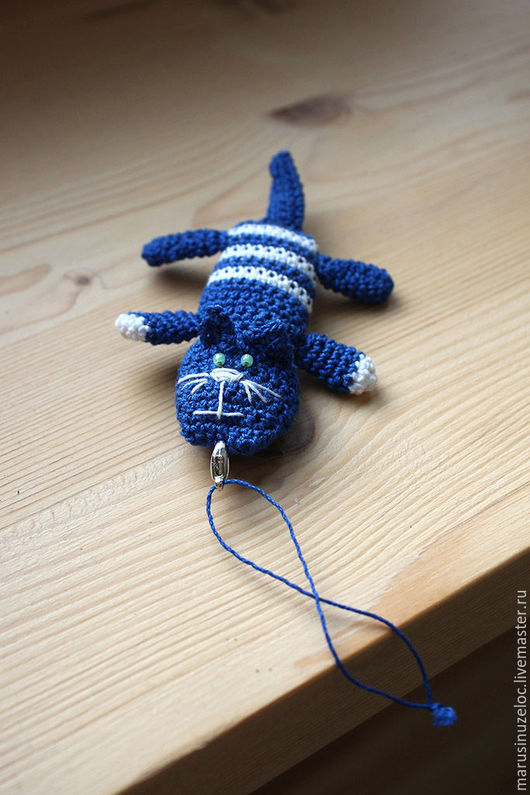 Игрушки животные, ручной работы. Ярмарка Мастеров - ручная работа. Купить кот игрушка Полосатый, мягкая игрушка кот, вязаная игрушка синий белый. Handmade.