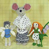 Мягкие игрушки ручной работы. Ярмарка Мастеров - ручная работа Набор вязаных мягких игрушек «Дюймовочка, король эльфов и полевая мышь. Handmade.