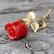 Украшения ручной работы. Ярмарка Мастеров - ручная работа Брошь булавка лэмпворк Красная роза бутон. Handmade.