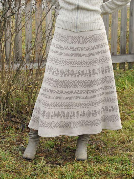 Юбки ручной работы. Ярмарка Мастеров - ручная работа. Купить юбка с перуанским орнаментом. Handmade. Бежевый, юбка в пол