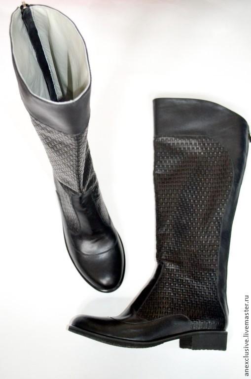 """Обувь ручной работы. Ярмарка Мастеров - ручная работа. Купить Сапоги """"Плетенка"""" в черном. Handmade. Черный, модные сапоги"""
