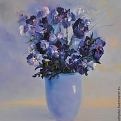 Pictures handmade. Livemaster - original item Oil painting with Violet flowers. Handmade.