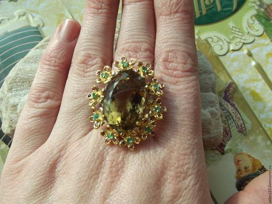 """Кольца ручной работы. Ярмарка Мастеров - ручная работа. Купить Позолоченное кольцо """"Июль"""" с крупным цитрином, изумрудами и рубинами.. Handmade."""