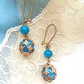 Винтаж handmade. Livemaster - original item Vintage earrings earrings gold with turquoise USSR. Handmade.