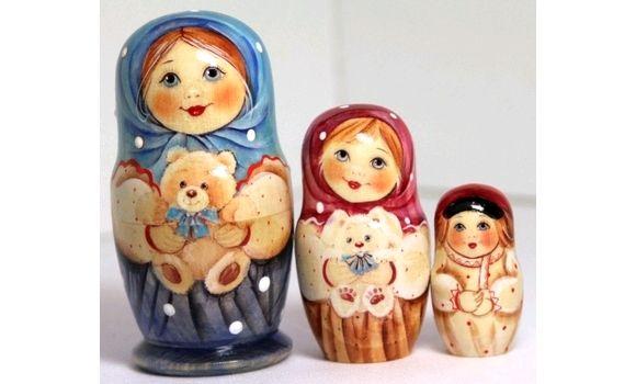Матрешка Вера с мишкой 11см 3м, Народная кукла, Шатура,  Фото №1