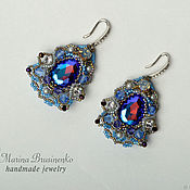 Украшения handmade. Livemaster - original item Earrings Fantasy beaded lace with crystals. Handmade.