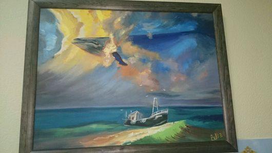 """Пейзаж ручной работы. Ярмарка Мастеров - ручная работа. Купить Картина """"кит в небе"""". Handmade. Кит, море живопись"""